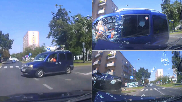 He forced the priority, drove without seat belts, crashed his window after a collision with his head. Record from the camera