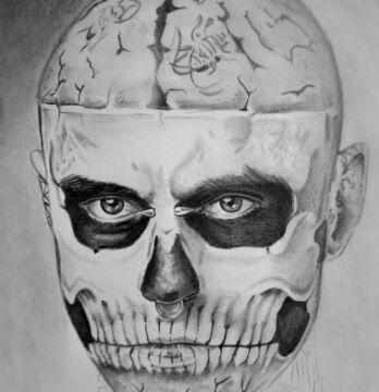 """Grafika """"Zombie Boy"""" autorstwa niepełnosprawnego Mariusza ze Świdnicy"""
