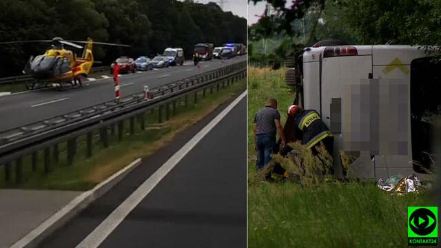 """Autokar w rowie na A4, wielu poszkodowanych. """"Kierowca powiedział, że zasnął"""""""