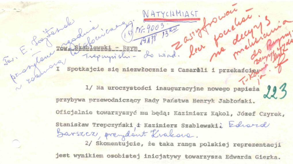 Depesza Stanisława Kani i Emila Wojtaszka do Kazimierza Szablewskiego z sugestiami co do przygotowania i przebiegu wizyty przewodniczącego Rady Państwa Henryka Jabłońskiego w Rzymie, 19 października 1978 r.