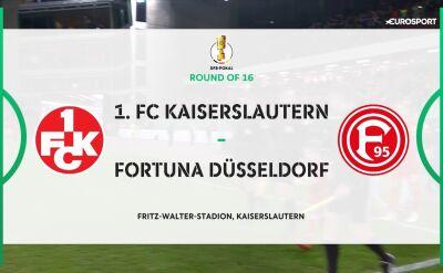 Skrót meczu Kaiserslautern - Fortuna Duesseldorf w 3. rundzie Pucharu Niemiec