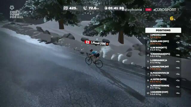 Piccoli wygrał 3. etap Zwift Tour for All