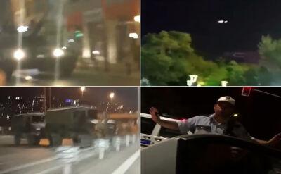 Helikoptery i samoloty nad miastem. Wojsko na ulicach. Nagrania z Ankary