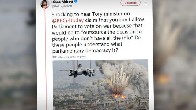 Fotomontaż zamiast prawdziwego zdjęcia.  Wpadka polityk krytykującej naloty na Syrię