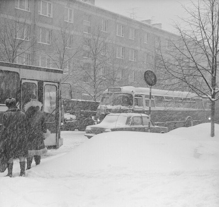 Przechodnie na przystanku autobusowym w Warszawie, 30 stycznia 1979 r.