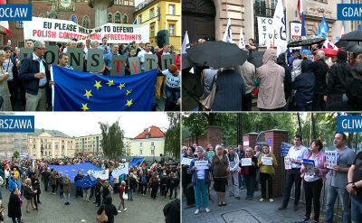 Protesty w obronie wolnych sądów w różnych miastach Polski