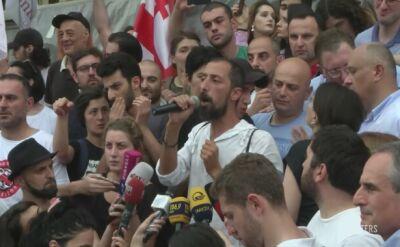 Wzburzenie i demonstracja w Tbilisi po wystąpieniu rosyjskiego deputowanego