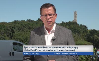 Spór o treść komunikatu na stronie Gdańska dotyczący obchodów pierwszego września