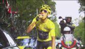 Kolumbijski triumfator Tour de France delektuje się szampanem