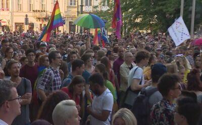 Manifestacja solidarności z członkami Marszu Równości z Białegostoku w Krakowie