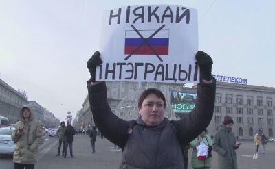 Białorusini wyszli na ulice Mińska, aby sprzeciwić sie zacieśnianiu więzi z Rosją