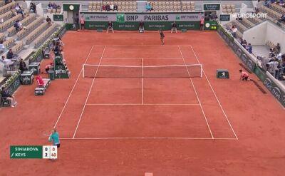 Skrót meczu Siniakova - Keys w czwartej rundzie Roland Garros