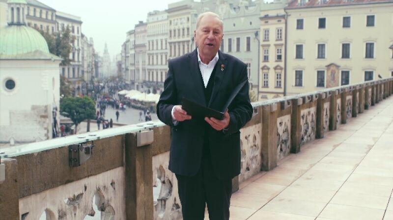 Życzenia dla Polski. Jerzy Stuhr czyta życzenia od Urszuli Kuzińskiej