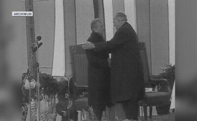 Helmut Kohl i Tadeusz Mazowiecki w Krzyżowej