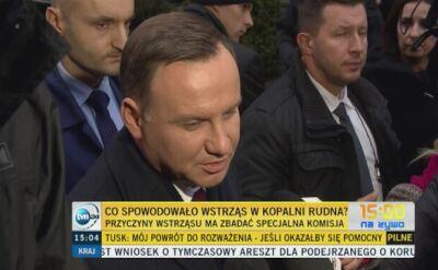 Prezydent Duda o tragedii w kopalni w Polkowicach