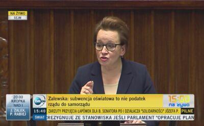 Anna Zalewska: Miliard złotych zostanie zabrany samorządowcom? To nieprawda