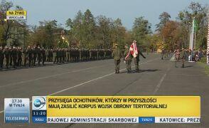 Przysięga ochotników, którzy zasilą korpus Wojsk Obrony Terytorialnej