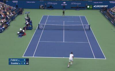 Skrót meczu Federer - Dzumhur w 2. rundzie US Open