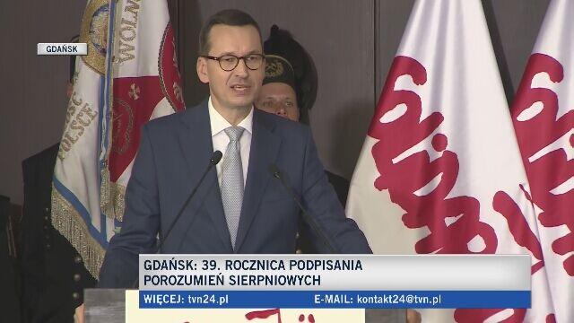 Premier Mateusz Morawiecki w sali BHP