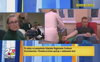 Mieszkańcy oddają krew dla prezydenta Gdańska