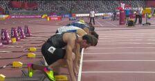 Upadek Omara McLeoda w finale 110 m przez płotki