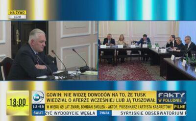 Gowin: Tusk miał pretensje do szefa ABW