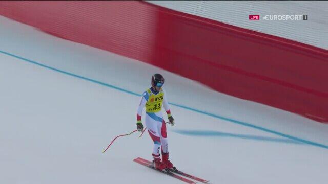 Szwajcarski narciarz centymetry od poważnego wypadku
