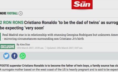 """""""The Sun"""": Ronaldo ma mieć bliźniaki"""