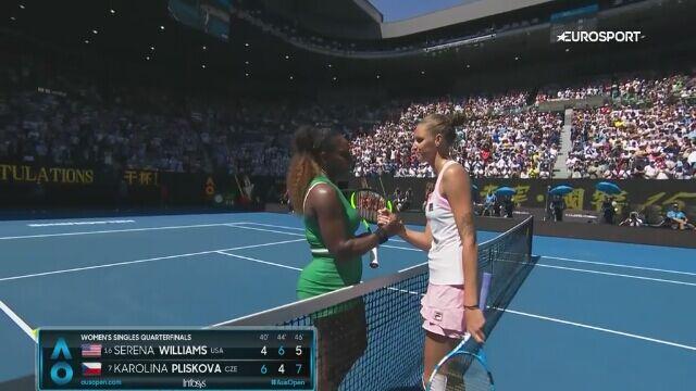 Skrót meczu S. Williams - Pliskova w ćwierćfinale Australian Open