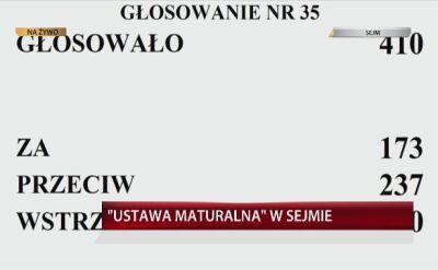 Sejm nie zgodził się na odrzucenie projektu w sprawie matur. Posłowie przystąpili do drugiego czytania projektu