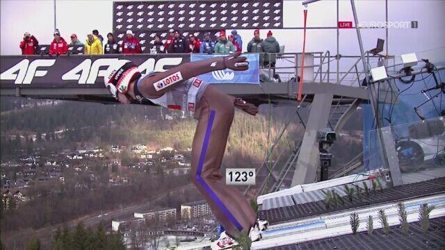 Skok Kamila Stocha w 1. serii konkursu w Garmisch-Partenkirchen