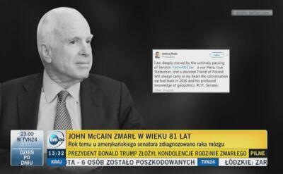 Kondolencje po śmierci McCaina płyną także z Polski