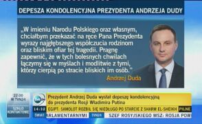 Depesza kondolencyjna Andrzeja Dudy do Władimira Putina