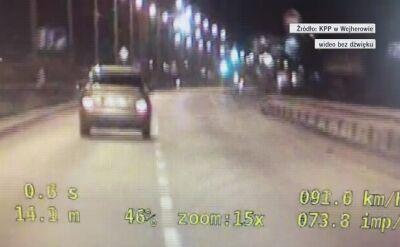 Pędził o 100 km/h za szybko. Wszystko nagrała kamera w policyjnym radiowozie