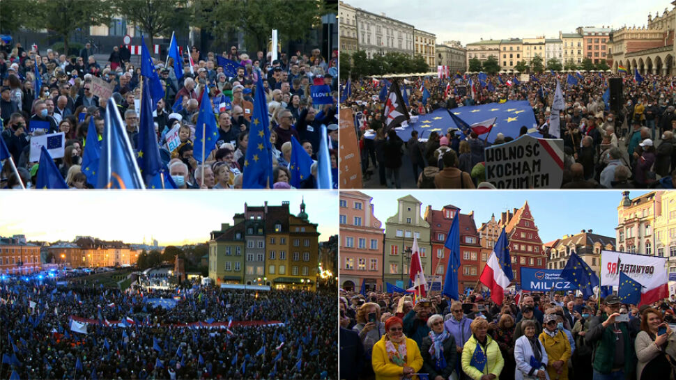 """Głos młodych na manifestacjach. """"Nie wyobrażam sobie przyszłości bez Polski w Unii"""""""