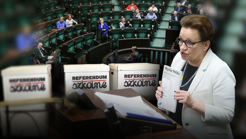 """Referendum w sprawie reformy edukacji trafiło do komisji. """"Polski lud tego oszustwa nie kupi"""""""