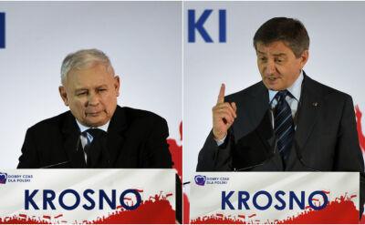 """Jarosław Kaczyński w """"bastionie"""" PiS. Obok Marek Kuchciński"""