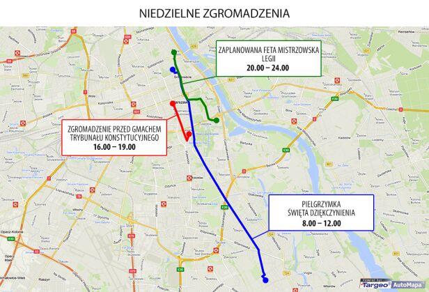 Zgromadzenia planowane w niedzielę Targeo/tvnwarszawa.pl