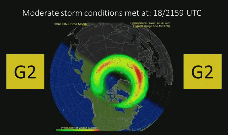 Tak wyglądała prognoza zasięgu zorzy na 18 marca (swpc.noaa.gov)