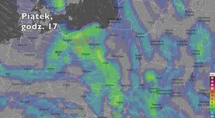 Potencjalne opady deszczu w kolejnych dniach (Ventusky.com | wideo bez dźwięku)
